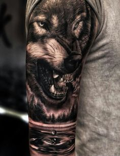 50 Of The Most Beautiful Wolf Tattoo Designs The Internet Has Ever Seen awesome black & gray realistic wolf tattoo © tattoo artist Daniel Luzardo ? Wolf Tattoos Men, Bear Tattoos, Animal Tattoos, Body Art Tattoos, Celtic Tattoos, Wolf Sleeve, Wolf Tattoo Sleeve, Sleeve Tattoos, Tattoo Wolf