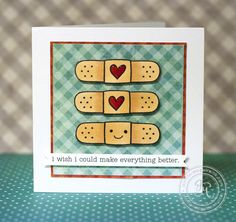 Great color and contrast in @Jennifer McGuire's band-aid encouragement card #stamping #lawnfawn