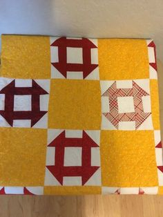 Churn Dash Quilt Yellow And Red    eBay