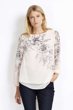 Petite Pale Pink Floral Overlay Top