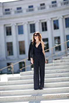 Navy Printed Jumpsuit and Faux Leather Jacket