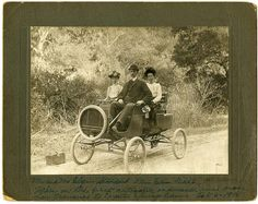 Mr. and Mrs. Elgin Stoddard, Miss Edna Dahl, taken on the first automobile endurance run from San Francisco to Crystal Springs Dam, Oct., 6 1901.