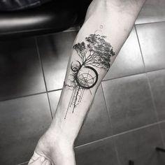 Geometric tree tattoo blackwork