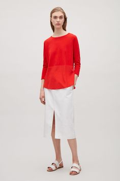 COS image 1 of Knitted top with silk panel in Signal Red