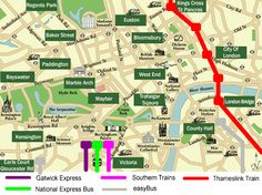 Map Of Locations In London Where Gatwick Airport Transport Departs From