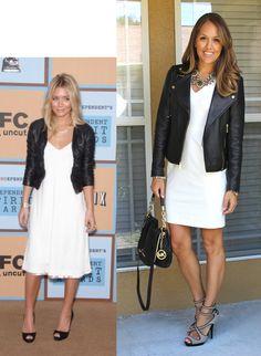 White Dress + Leather Jacket