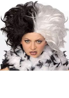 Our adult Cruella De Vil Wig is the perfect costume wig for any deserving villain. For a funny costume idea for mothers try this costume wig along with any of our baby or toddler Dalmatian costumes. One Black and white wig SKU: Disney Costumes For Kids, Costumes For Women, Quality Wigs, Hair Quality, Black And White Wig, Hunter Costume, Apple Costume, Wholesale Halloween Costumes, Parties