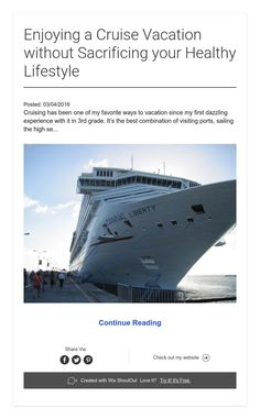 Posted: Cruising has been one of my favorite ways to vacation since my first dazzling experience with it in grade. It's the best combination of visiting ports, sailing the high se. Cruise Vacation, Healthy Lifestyle, Sailing, Candle, Healthy Living