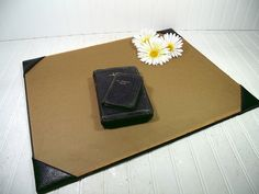 Antique Black Leather Extra Large Desk Blotter with Padded Corners - Vintage Library Office Accessory - Workspace Mat Ready For Repurposing $39.00 by DivineOrders