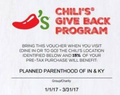 Earlier this week, Chili's restaurants in Indiana and Kentucky partnered with Planned Parenthood to promote the killing of unborn human beings by encouraging diners to