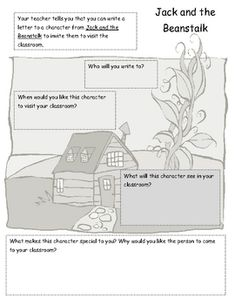 jack and the beanstalk graphic organizer for writing a letter