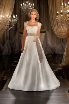 Martina Liana sweetheart ball gown with lovely beige sash