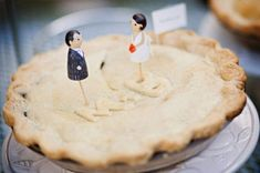 """More wedding pie. this one is a special one just for the bride and groom! With """"cake"""" toppers and bride and grooms initials in tasty pastry. Wedding Cake Rustic, Unique Wedding Cakes, Wedding Desserts, Unique Weddings, Wedding Topper, Summer Weddings, Cake Pops, Wedding Cake Alternatives, Traditional Wedding Cake"""