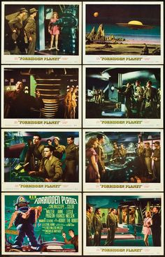 """Lobby cards for Forbidden Planet (1956): Walter Pidgeon, Anne Francis, Leslie Neilsen, Robby the Robot Doctor Morbius Altaira. Cutting-edge space sci-fi at the time. You watch this and you see the seeds of Star Trek, C3PO, Prometheus, so many others. """"The fool, the meddling idiot! As though his ape's brain could contain the secrets of the Krell!"""""""