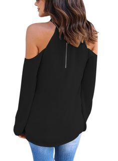 11d72bffe16eb FARYSAYS Womens Long Sleeve Off Shoulder Halter Knot Neck Shirt Blouse Tops  Black Medium    Be sure to check out this awesome product.