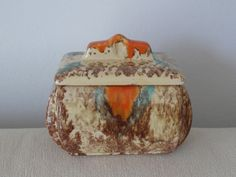 Box ceramic JASBA West German Fat Lava Art by TimelessGiftsandMore Lava, Art Deco, Orange And Turquoise, German, Boxes, Mid Century, Colours, Beige, Ceramics