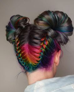 Obsessed with these super cute grey + rainbow buns by - try our Slate Grey + Rainbow Pack for a similar style! Hair Color Balayage, Ombre Hair, Wavy Hair, Hair Dye Colors, Cool Hair Color, Rainbow Braids, Rainbow Dyed Hair, Braided Hairstyles, Cool Hairstyles