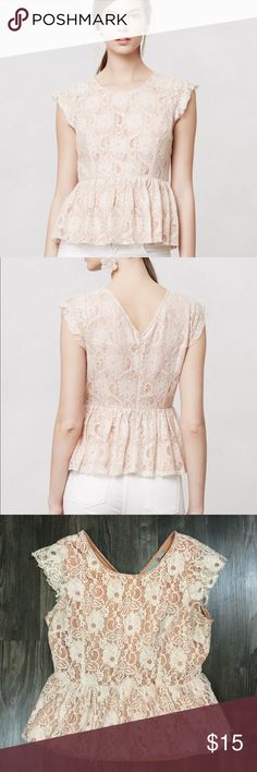 Anthropologie Maeve Blushed Solstice Shell Blouse Beautiful Anthropologie top! Peach with cream lace overlay and peplum. Good used condition with two minor years to bottom of lace on back, please see photo. Not very noticeable due to look of lace. Anthropologie Tops Blouses