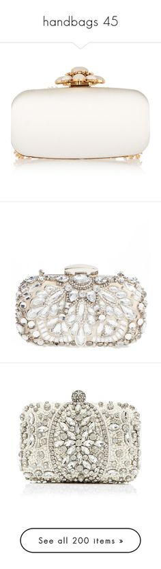 """handbags 45"" by minatsukichan ❤ liked on Polyvore featuring bags, handbags, clutches, oscar de la renta, embellished purse, satin handbags, clasp handbag, white satin purse, embellished handbags and bolsas"