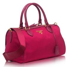 0a48c3e0b770 Prada Women's Bauletto Baguettes Nylon and Leather Pink(Ibisco) Handbag  with Removable Strap 1BB797