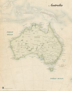 Australia in our Vintage Map Style