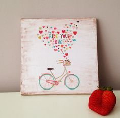 Wooden art block Ride your bike spelling by BannerDesignShop