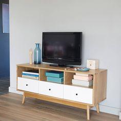 Meuble banc TV 3 niches 3 tiroirs, bicolore - 3 Suisses - 301 euros