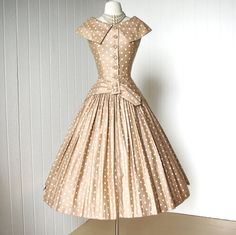 vintage 1950's dress ...dior inspired SUZY PERETTE new york polished cotton nude polkadot full skirt pin-up cocktail party dress