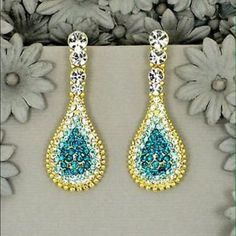18 K Gold Gp Color Blue Crystal Rhinestone Earring
