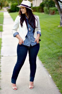 Curvy Girl Cute - White jacket, chambray shirt, skinny jeans and that hat! So cute!!