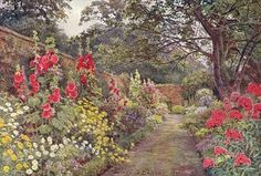 """George Elwood's 1904 painting of a Jekyll Garden border - an English """"cottage"""" style garden"""