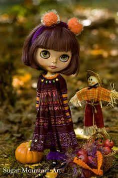 Little Miss Halloween. Festive Party Dress, Striped Leggings, Crocheted Bag And Velvet Headband For Blythe Doll