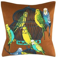 A budgie party on lovely chocolate brown linen. Reversed in rich orange linen this sweetie fits a cushion insert (not included) Budgie Parakeet, Parakeets, Parrots, Cushion Inserts, Cushion Covers, Baby Budgies, Bird Toys, Happy Animals, Bird Feathers
