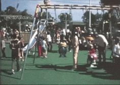MCDONALDLAND SWING || Kids swing on the Filet-O-Fish and Fry Gobblin characters, with the Mad Professor slide behind them. I created this GIF from the rare McDonaldland Promotional Video. In the 16mm 12-minute industrial film from 1972, Setmakers shows off the large line of park-like attractions they could build and install to attract customers to McDonald's using the setting of the 1971 opening for the very first Playland in Chula Vista, California.