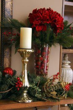 Awesome Red Christmas Decor Ideas 33 home Decorations Christmas, Christmas Flowers, Christmas Mantels, Noel Christmas, Christmas Centerpieces, Winter Christmas, Christmas Wreaths, Christmas Crafts, Holiday Decor