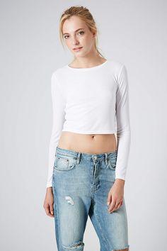Long Sleeve Skinny Rib Crop Top - Tops - Clothing - Topshop