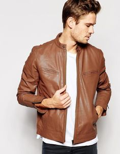 Biker jacket by ASOS Smooth, supple leather Collar with throat latch Zip opening Functional pockets Zip details to cuffs Regular fit - true to size Specialist dry clean Real Leather Our model wears a size Medium and is tall Leather Jacket Brands, Brown Leather Bomber Jacket, Tan Leather Jackets, Leather Jacket Outfits, Biker Leather, Leather Collar, Real Leather, Black Leather, Old Man Fashion