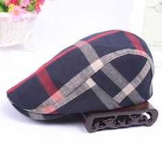 88efd38bf22b6 Men Vintage Cotton Beret Cap Travel Leisure Striped Lattice Newsboy Hat