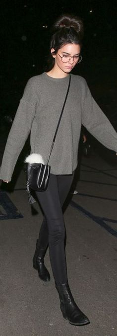 Who made Kendall Jenner's gray sweater and black bucket handbag?