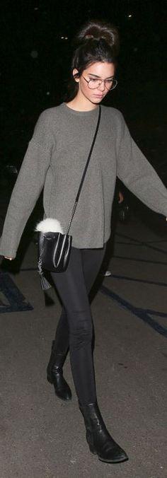 be6e5b72e75460 Kendall Jenner: Sweater – Acne Purse – Saint Laurent Sunglasses – Garrett  Leight Key Chain