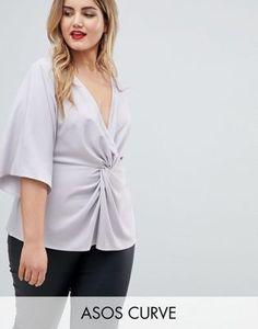 85669a8dd36d4 ASOS DESIGN Curve exclusive twist front kimono sleeve top Plus Size Womens  Clothing