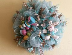 20 inch Tiffany Blue  Easter Deco mesh wreath by NancysNowandForever on Etsy