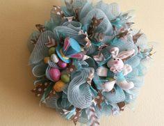 20 inch Tiffany Blue  Easter Deco mesh wreath by NancysNowandForever on Etsy