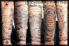 Ideas tattoo sleeve religious deviantart for 2019 Arm Quote Tattoos, Bible Tattoos, Forearm Tattoo Quotes, Verse Tattoos, Forarm Tattoos, Cool Forearm Tattoos, Men Tattoos, Dope Tattoos, Tatoos