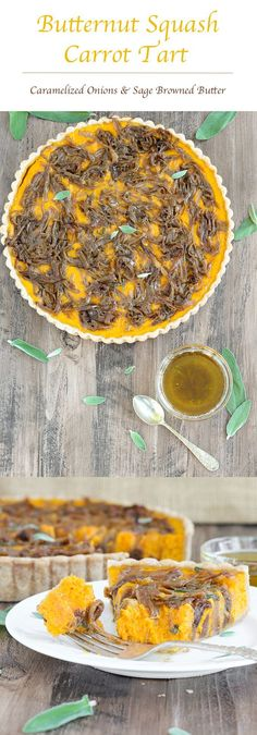 In this savory Butternut Squash Carrot Tart, carrots and butternut squash are roasted with Harissa and Hungarian paprika then covered in caramelized onions, and baked to custardy perfection in a whole-wheat tart shell. All topped with sage browned butter. Easy Desserts, Delicious Desserts, Yummy Food, Healthy Desserts, Tart Shells, Hungarian Paprika, Savory Tart, Caramelized Onions, Desert Recipes