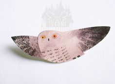 Grey flying owl brooch animal brooch owl pin badge by TukoniTribe