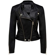 Forever New Suzie cropped Pu biker jacket ($57) ❤ liked on Polyvore featuring outerwear, jackets, tops, leather jackets, coats, black moto jacket, motorcycle biker jacket, cropped jacket, black biker jacket and zip jacket