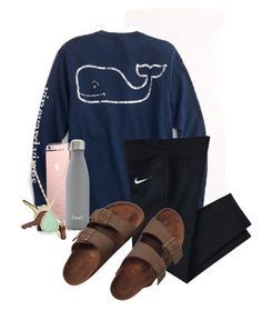 """can't wait for Halloween"" by sofiaestrada ❤ liked on Polyvore featuring Vineyard Vines, NIKE, S'well, Crate and Barrel, Kendra Scott and Birkenstock"