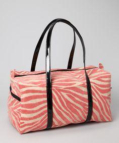 Coral Zebra Stripe Duffel Bag