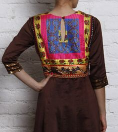 Brown Handloom Chanderi Silk Kurta